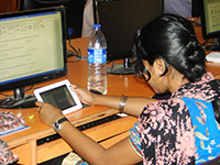 Participant accessing Online Labs using the tablet